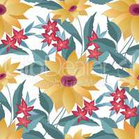 Flourish tiled pattern. Abstract floral background. Fantastic fl