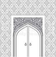Door way in arabic architectural style.  Islamic design mosque d