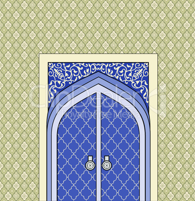 Doorway in arabic architectural style. Arch of patterned stone with closed  door.  Islamic design mosque door