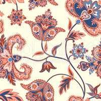 Floral  pattern. Flourish retro background. Branch with fantasti