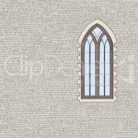 Ancient brick wall background with gothic window. Shabby brick w
