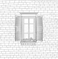 House with classical window engraving background. Shabby brick w