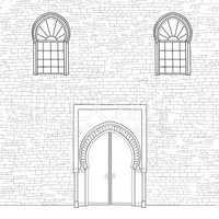 Door way background in moslem style. Front door oriental house f
