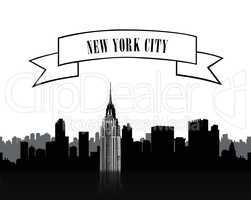 NYC cityscape. Urban city skyline silgouette over white baackgro