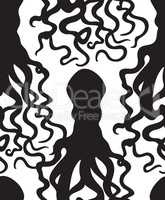 Octopus silhouette seamless pattern. Ghost halloween ornament. M