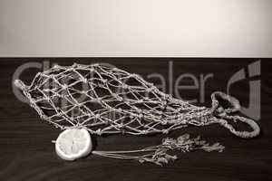 Net with the shape of fish.