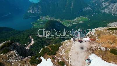 Aerial view of the landmarks in the mountains of Austria. View of the observation deck 5 fingers, Obertraun