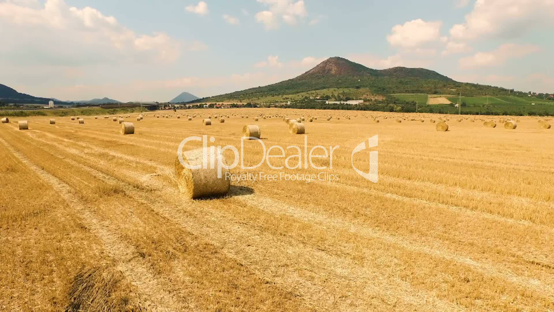 Aerial View Of Cropped Wheat Field With Bales Of Hay In The