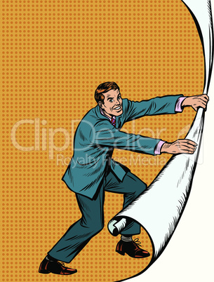 Businessman opens a curtain background