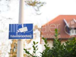 Video surveillance, German words on a sign