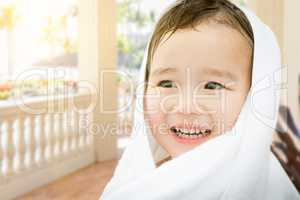 Happy Cute Mixed Race Chinese and Caucasian Boy On Tropical Pati
