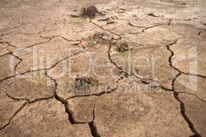 Picture of drought: drying up of water bodies due to lack of precipitation