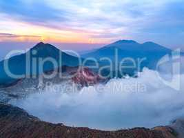 Active Volcano at Dawn on the Island of Java. Aerial View