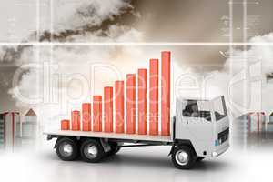 Success full graph on a truck in color background