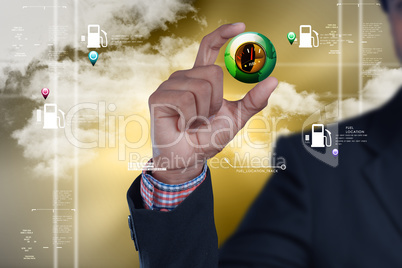 Man showing fuel meter in color background