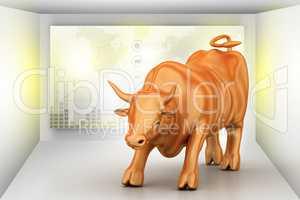 Rising golden business bull