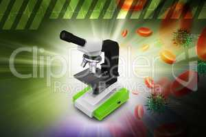 Microscope with platelets and virus in color background
