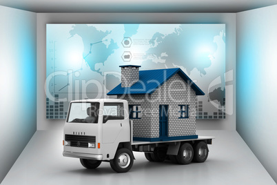 Home in a truck in color back ground