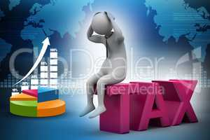 3d man sitting on the top of tax in color background