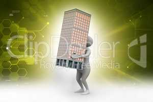 3d man holding a bulding in color background