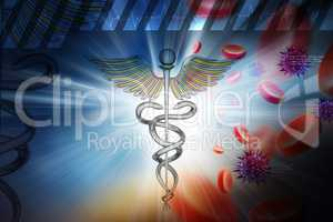 Medical symbol with blood cells and virus in color background