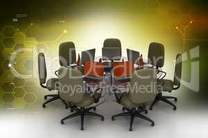 Conference table with laptops in color background