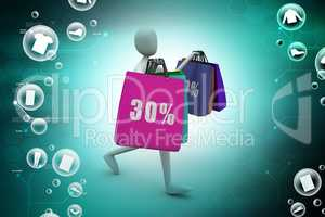 3d business man with offers and bag in color background