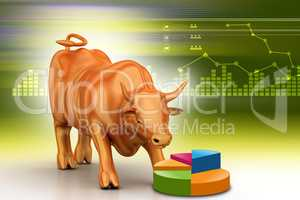 Rising bronze business bull in color background