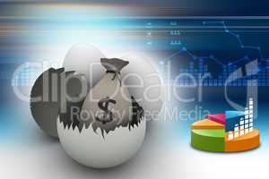 Money bag with eggs and egg shells in color background