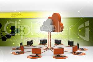 Cloud computing with computer network in color background