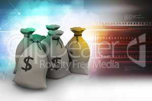 Bundles of money in bags in color background