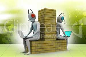 Computer networking between two peoples in color background