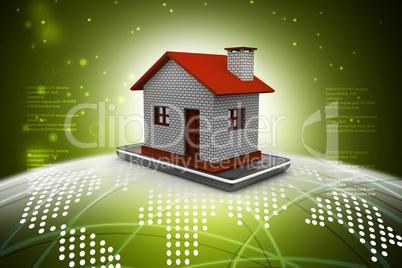 Smart phone with house in color background