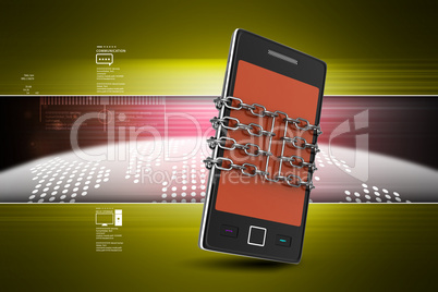 Smart phone with protection in color background