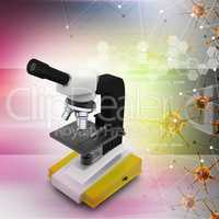 Microscope with virus in color background
