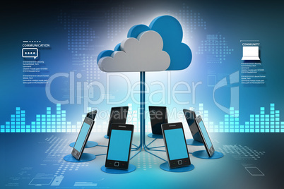 Smart phones network with cloud computing in color background