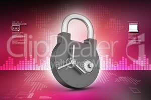 High protection padlock in color background