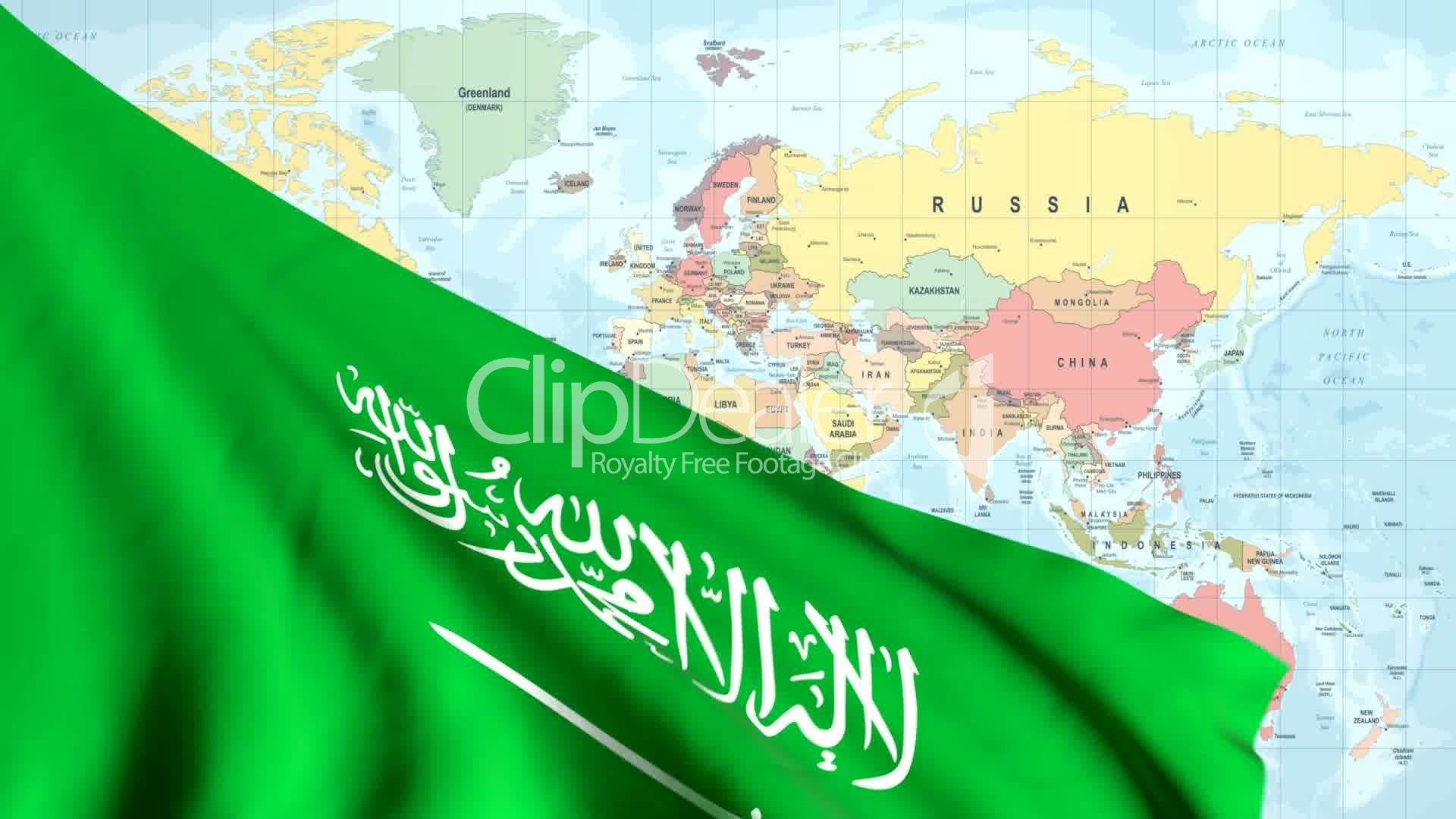 Animated Flag of Saudi Arabia With a Pin on a Worldmap ...