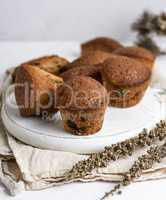 small round baked cupcakes with dry fruits and raisins