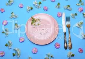 empty round pink ceramic plate and a vintage knife with a fork
