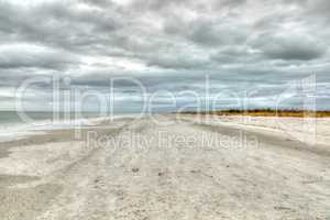 Overcast skies over Tigertail Beach