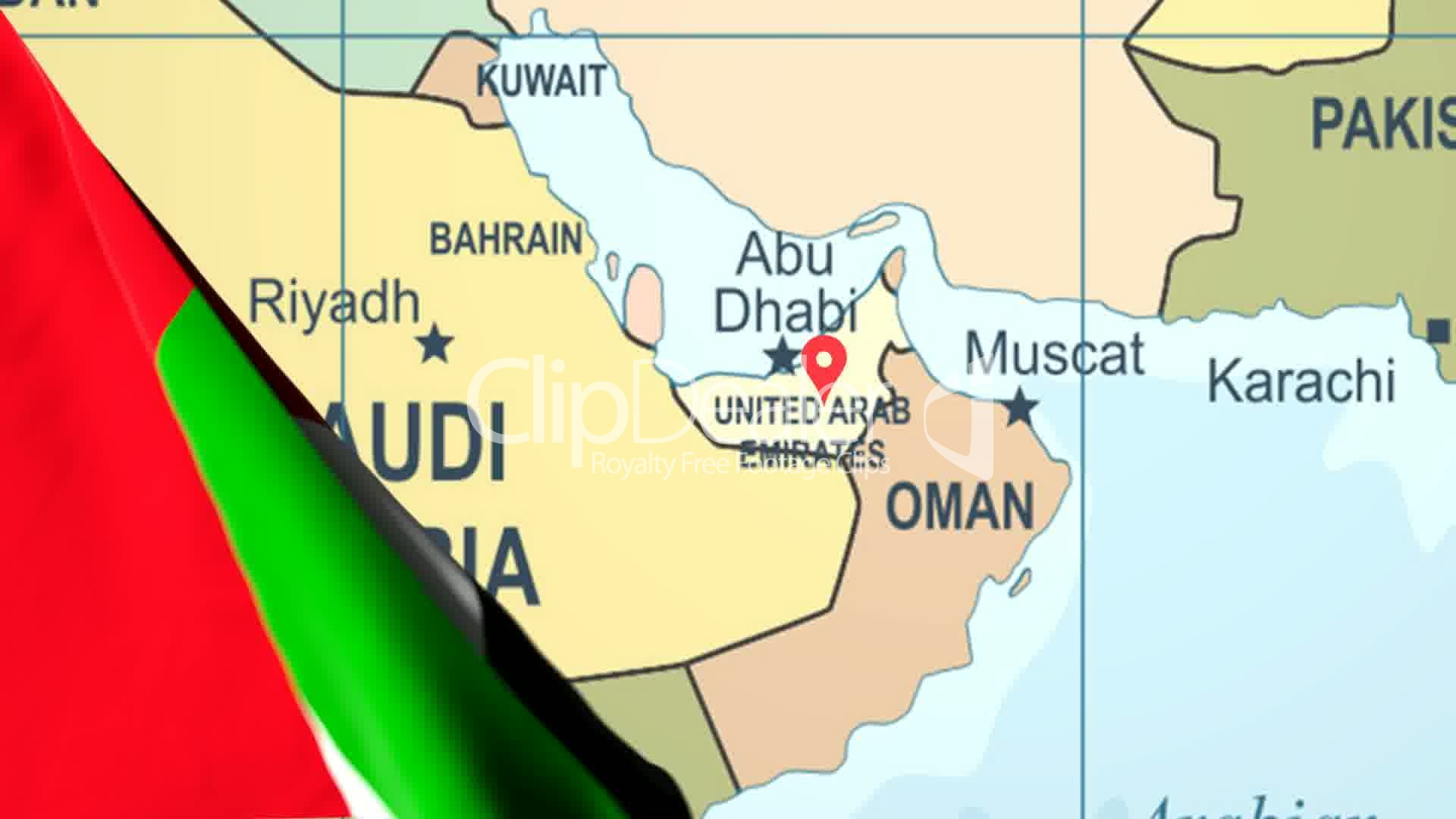 Animated Flag of the United Arab Emirates With a Pin on a Worldmap ...