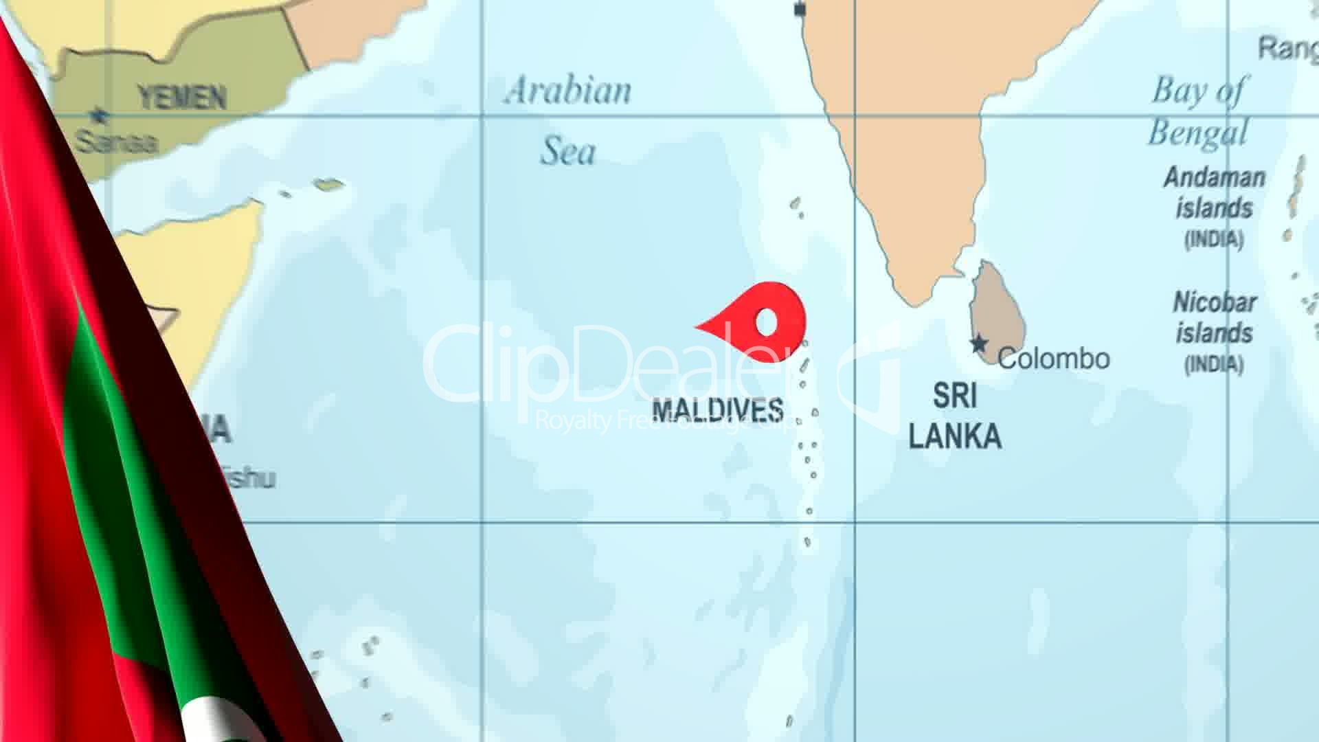 Animated Flag of the Maldives With a Pin on a Worldmap ... on indonesia world map, mauritania world map, dubai world map, burkina faso world map, china world map, costa rica world map, greece world map, tahiti world map, timor-leste world map, cook islands world map, east timor world map, barbados world map, taiwan world map, fiji world map, malawi world map, myanmar world map, new zealand world map, bora bora world map, algeria world map, hong kong world map,