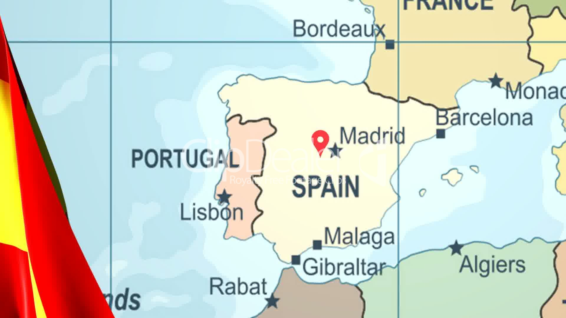 Animated Flag of Spain With a Pin on a Worldmap: Royalty-free video ...