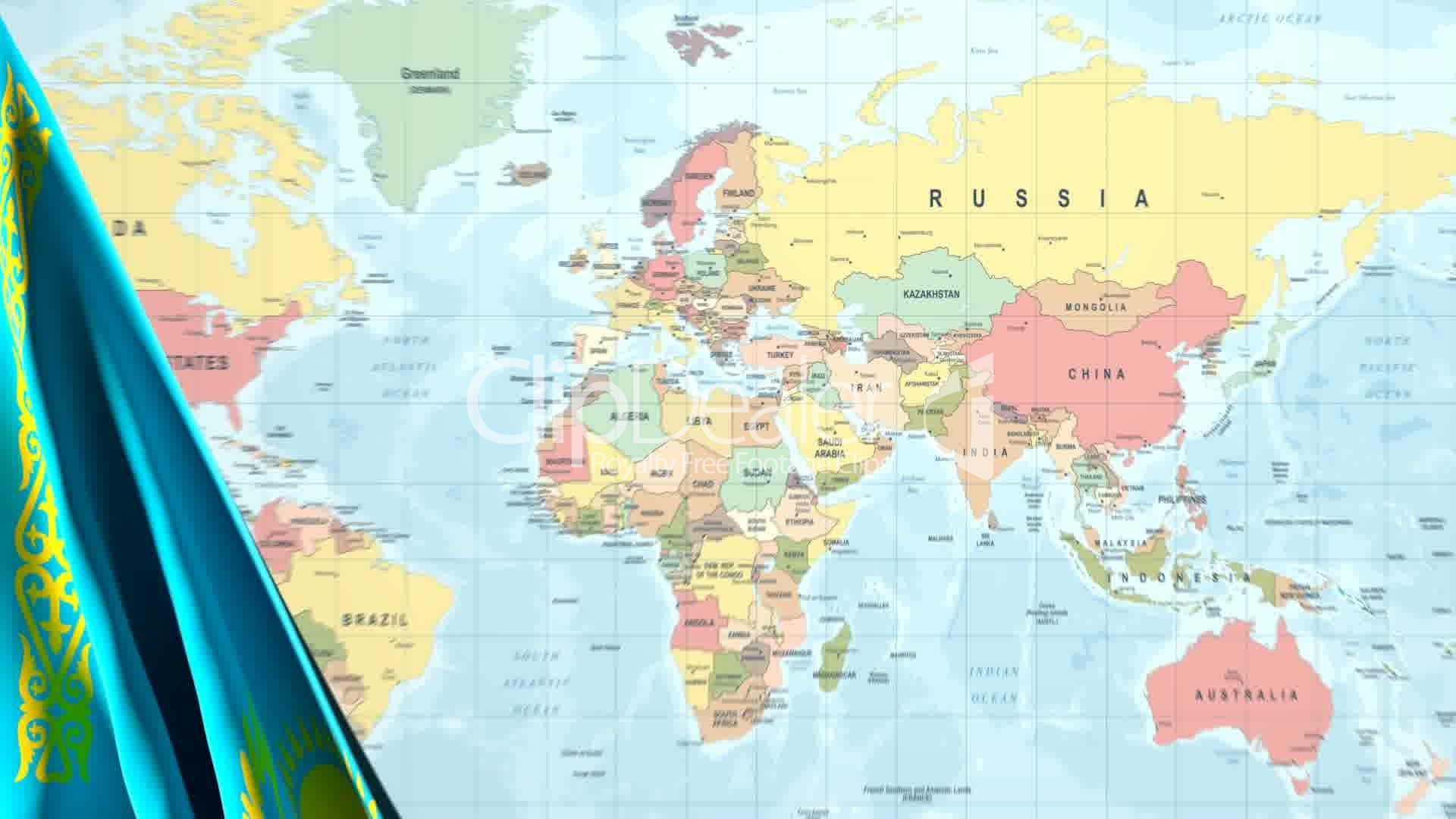 Animated Flag Of Kazakhstan With A Pin On A Worldmap Royalty Free