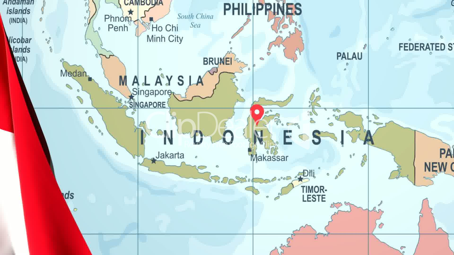 Animated flag of indonesia with a pin on a worldmap royalty free clips animated flag of indonesia with a pin on a worldmap gumiabroncs Image collections