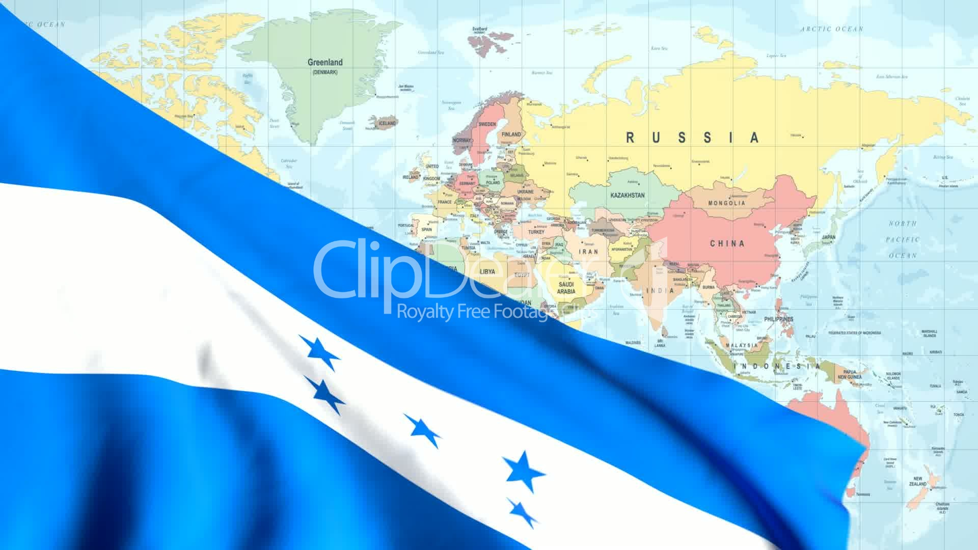 Animated Flag of Honduras With a Pin on a Worldmap: Royalty-free ...