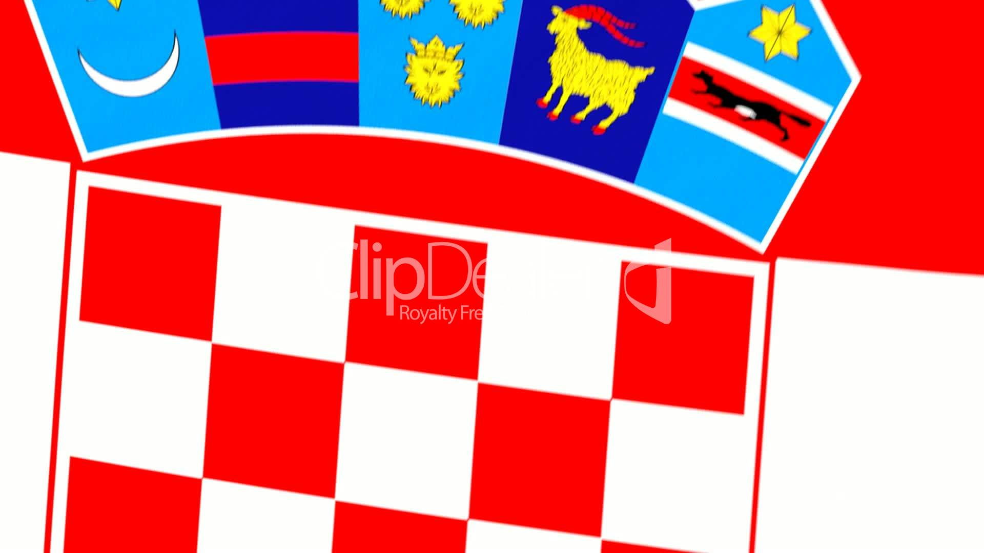 Animated Flag Of Croatia With A Pin On A Worldmap Royalty Free