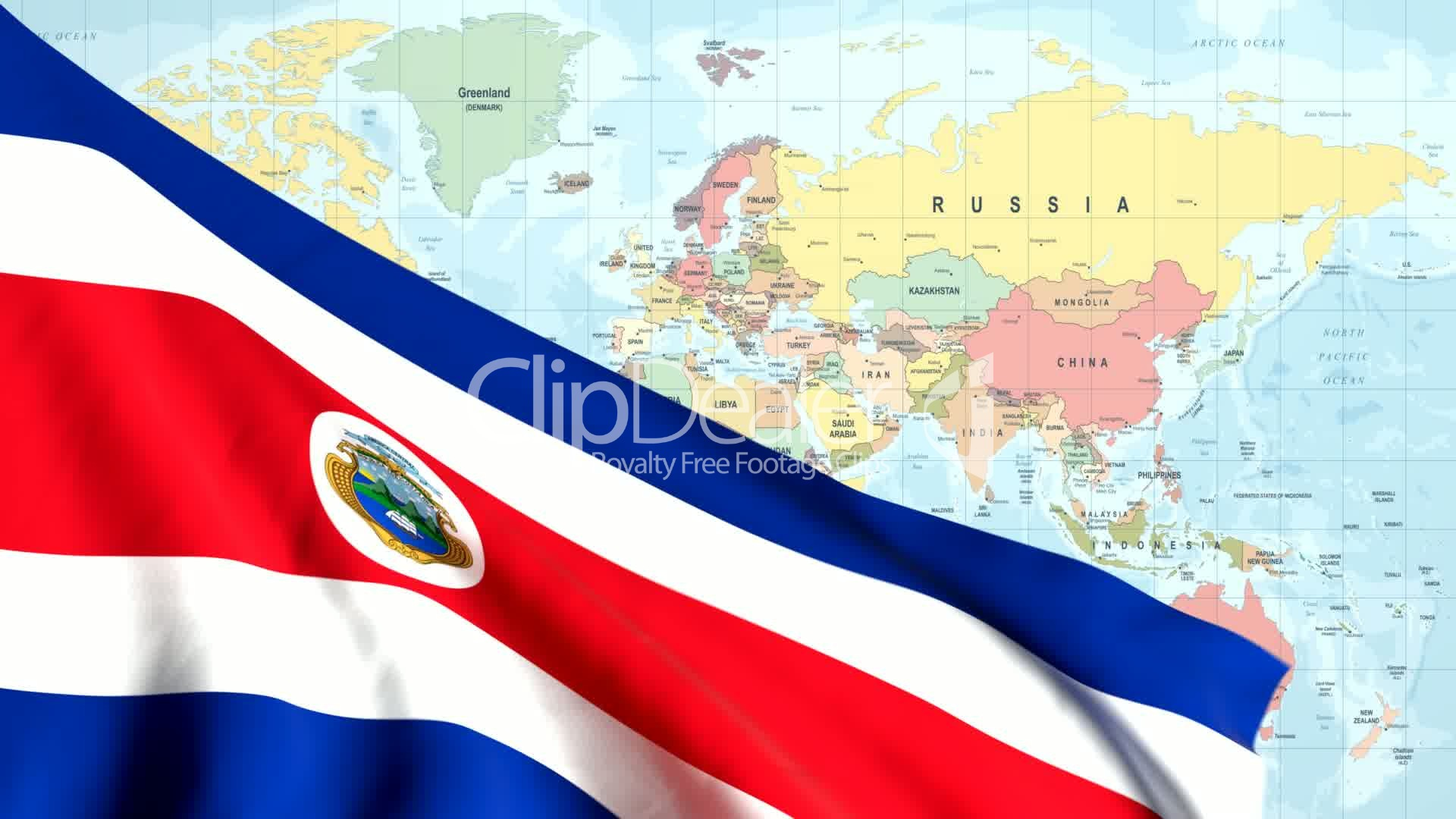 Animated Flag of Costa Rica with a Pin on a Worldmap: Lizenzfreie ...