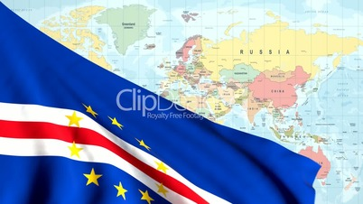 Animated Flag of Cape Verde With a Pin on a Worldmap